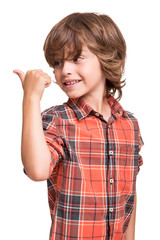 Boy pointg to empty space