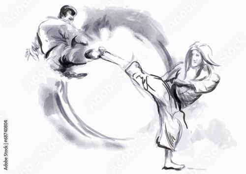 Fototapeta Karate - Hand drawn (calligraphic) vector