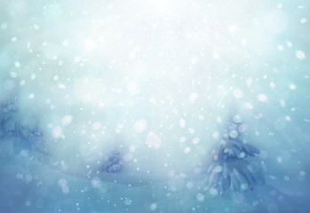 Winter scene snowfall background.