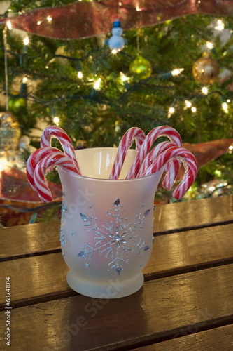 Jar of Candy Canes with Christmas Tree