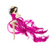 Woman dancing in fluttering dress, fashion model dancer