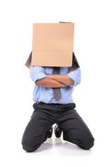 Businessman with box head