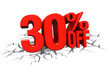 3D render red text 30 percent off on white crack hole floor.
