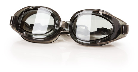 black swimming glasses isolated on the white background
