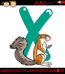 letter x for xerus cartoon illustration