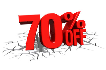 3D render red text 70 percent off on white crack hole floor.