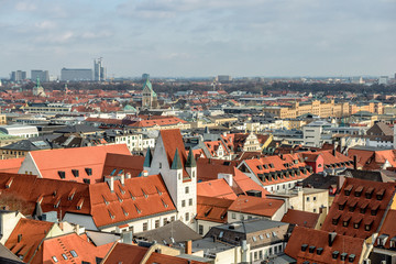 Red tile roofs in centre of Munich