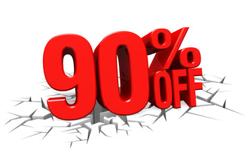 3D render red text 90 percent off on white crack hole floor.