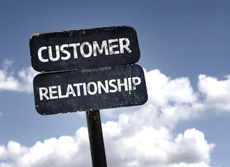 Customer Relationship sign with clouds and sky background