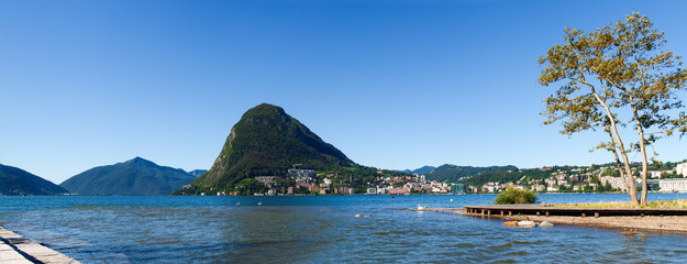 Monte San Salvatore and the mouth of the river Cassarate