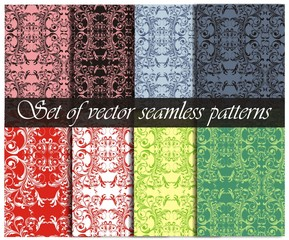 Set of vector seamless floral backgrounds