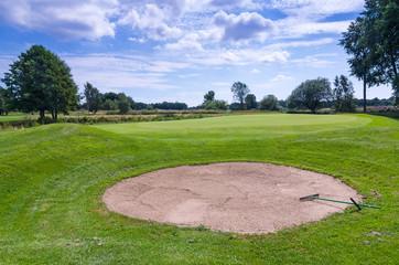Sand bunker on Swedish golf course