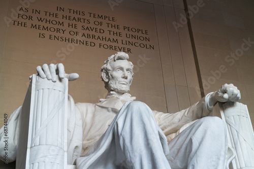 The statue of Abraham Lincoln, Lincoln Memorial, Washington DC Poster