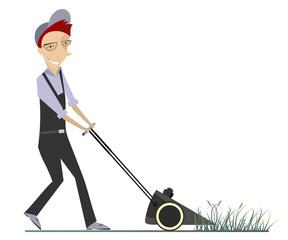 Comic lawnmower mows the lawn