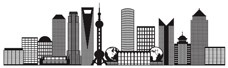 Shanghai City Skyline Black and White Outline Illustration