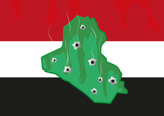 Iraq Map with Bullet Holes. Militant and Civil War Crisis.