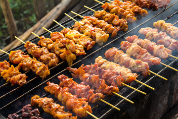 Skewer chicken pieces in a roasting on the grill and smoke