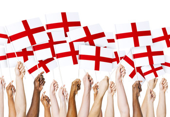 Group of Hands Holding English Flag