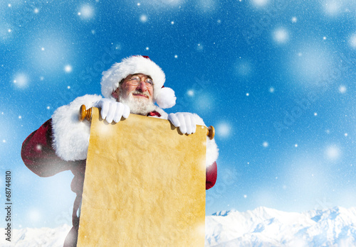 Traditional Santa Claus with a Paper Scroll