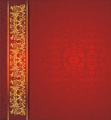 Dark red and gold vector background
