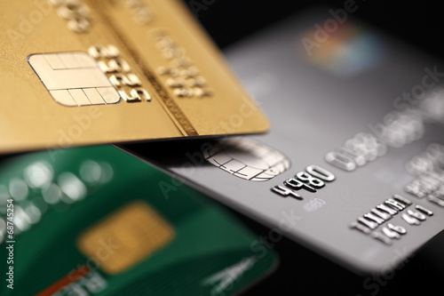 canvas print picture Credit cards close up