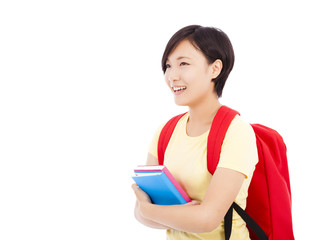 Young female student  holding  book with white background