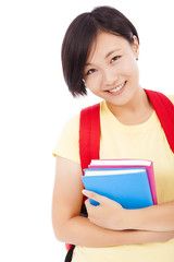 closeup of Young asian student girl with book