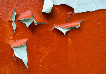 Old cracked orange paint background texture wall