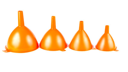 Set of orange funnels