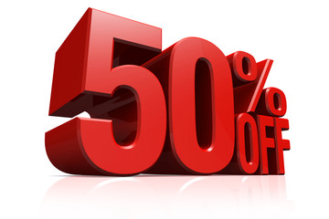 3D render red text 50 percent off.