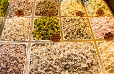 Traditional Turkish sweets on Egyptian bazaar of Istanbul