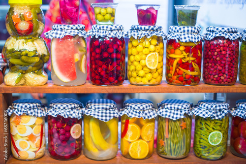 Mediterranean pickled vegetables and fruits on the open market