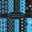 Blue and black nature pattern set
