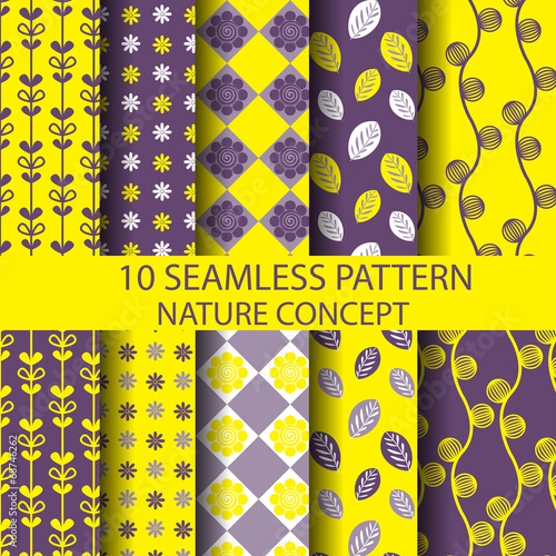 10 yellow and purple seamless pattern set, nature concept