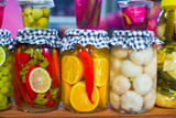 Pickled vegetables and fruits on the open market
