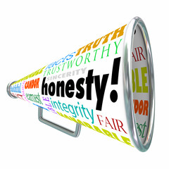Honesty Sincerity Integrity Virtues Reputation Megaphone Bullhor