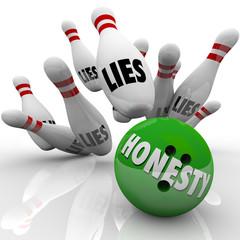 Honesty Bowling Ball Striking Lies Word on Pins Sincerity Wins