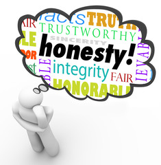 Honesty Sincerity Virtue Words Integrity Thinker Thought Cloud