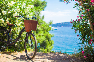 Beautiful vintage bicycle with basket on background of Bosphorus