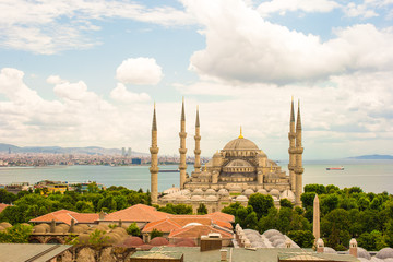 Incredible beautiful view of Blue Mosque from hotel terrace