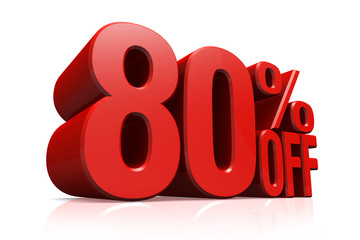 3D render red text 80 percent off.