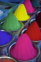 Colorful Piles of Indian Bindi Powder at Local Market