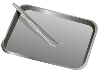 Medical Forceps metal tray
