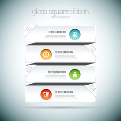 Gloss Square Ribbon Infographic