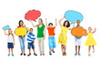 Multi-Ethnic People Holding Speech Bubbles