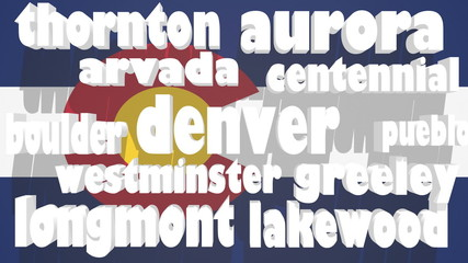 list of the colorado cities on flag