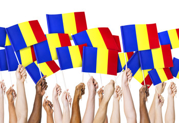 Group of Hands Holding Flag of Romania