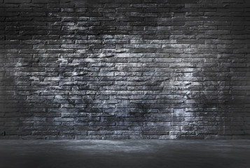 Black Brick Wall and Cement Floor
