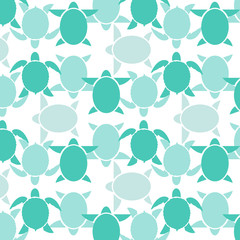 Seamless wallpaper blue turtle. Vector illustration