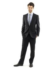 Full length businessman portrait on white background